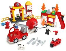 PlayBuild 86Pc Fire Station Building Blocks & Minifigures Set - Duplo Compatible