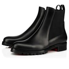 Christian Louboutin Marchacroche Flat Black Calf Leather Chelsea Ankle Boot 40