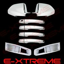 For 2008-2011 Cadillac CTS Full Mirror Chrome Cover+Door Handle+Fog Light Kit