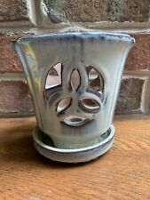 Pennington Glazed And Pierced Clay Orchid Pot W/ Attached Saucer