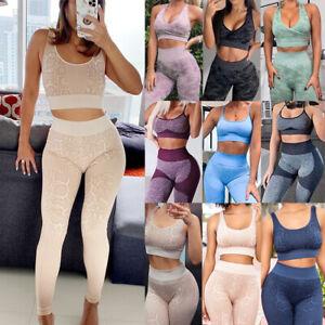 Women Yoga Set Push Up Sport Bra Seamless Gym Pants Leggings Ladies Workout Suit