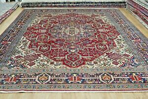 Magnificent vintage hand knotted X Large Persian Tab riz Rug 396 X 303 Cm