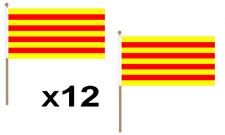 Catalonia Catalan Spain Spanish Large Hand Waving Flag 45X30Cm 12 Pack