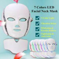 7 LED Light Photon Face Mask Neck Rejuvenation Skin Therapy Wrinkles Anti age