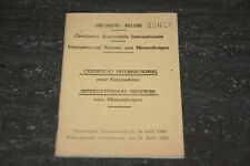 ANCIEN CERTIFICAT INTERNATIONAL POUR AUTO DE 1957.
