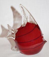 Red Glass Fish Paper Weight Figurine