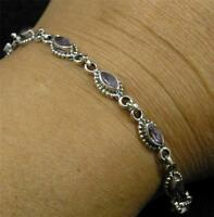 .925 Sterling Silver Petite Faceted Marquise Light Amethyst Gemstone Bracelet