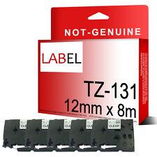 5 Nastro Compatibile Brother etichetta TZ131 12mm x 8m per Touch PT1000 P PT1005 PT1010
