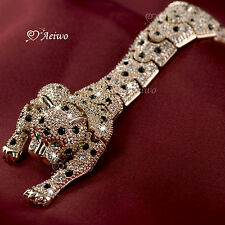 18K ROSE GOLD GP SPARKLING CRYSTAL LEOPARD BROOCH LONG