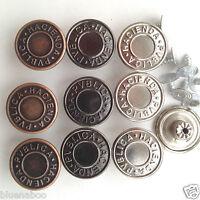 10 x hammer on jeans/denim buttons  silver bronze gunmetal 14mm 17mm 20mm 25mm *