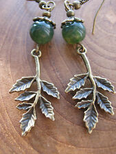 Bronze Leaves & Moss Agate Gemstone Bead Earrings Pagan Hedgewitch Nature
