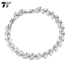 Luxury TT 18K White Gold Filled Leaf Wedding Bracelet (CBF17) NEW
