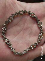 Ancien bracelet en argent massif et zirconium