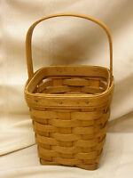 "1991 Sew Longaberger Baskets Hand Woven Dresden Ohio 10"" Tall 4 3/4"" Square"