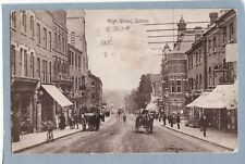 VINTAGE POSTCARD - HIGH STREET SUTTON SURREY - RP - Posted