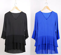 Ex WALLIS New Black & Blue Pleated Longline Tunic Top Blouse in Sizes 8 to 20