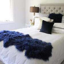 NAVY BLUE MONGOLIAN SHEEPSKIN FUR THROW BED RUNNER SCARF PLATE PELT CURLY HAIR