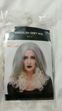 Long Ghoulish Grey Wig, Straight with Curly Ends, Womans Adult One Size, New
