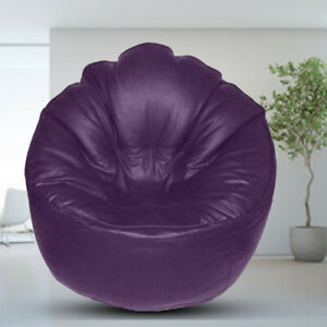 Leather Sofa Chair Bean bag Cover without Beans Purple Luxuries Home Decor Gift