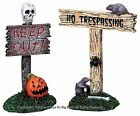 Lemax 82495 SCARY SIGNS Spooky Town Accessories Retired Halloween Decor Set I