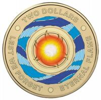 2018 AUSTRALIAN $2 TWO DOLLAR COIN - ETERNAL FLAME / LEST WE FORGET COLOUR aUNC