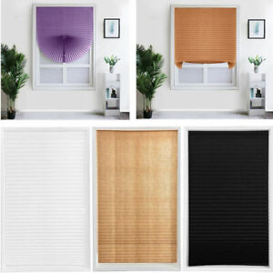Pleated Blind Window Curtain Shades Temporary Blackout Pull Down Rolling Blind