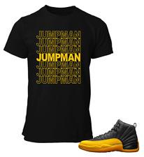 Camiseta para que coincida con Air Jordan 12 Universidad oro Jumpman ZAPATOS NEGRO T