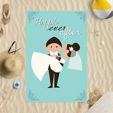 "58"" x 39"" Beach Towel Happily Ever After Design Microfibre Wedding Honeymoon"
