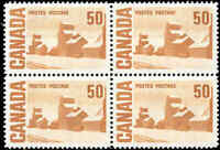 Canada Mint NH VF HB Scott #465Aiii 50c 1971 Block of 4 Definitive Stamps