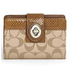NWT COACH Peyton Signature Medium Wallet 46237 - Khaki/Brown - Gift Receipt