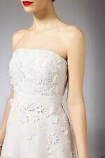 Coast Bandeau Embroidered 3D Daisy Flower Maxi Bride Maid Wedding Dress 8 - 14
