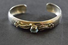 Vintage Sterling Silver Floral Cuff Bracelet w Light Blue Stone 18.5g