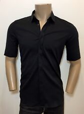 JIL SANDER Tailor Made Black Stretch Slim Fitted Cuffed Short Sleeves Shirt 40 M