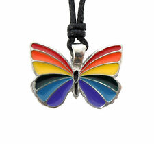 Butterfly Rainbow Pride Peace Symbol Lesbian Gay Transgender Pendant Necklace