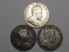 3 Canadian 10 Cent Coins: 1909 & 1910 (2). Edward VII.  #58