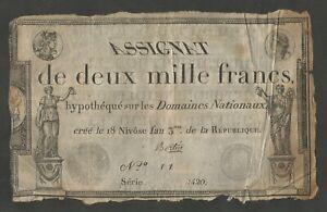 Assignat de 2000 francs 18 Nivose an 3 de la République - signé BERTIN
