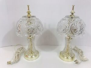 Vintage Crystal Boudoir Table Lamp Clear Heavy Cut Glass Shade Working Pair