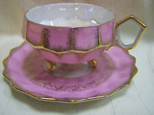 ROYAL HALSEY LUSTERWARE FINE CHINA~THREE FOOTED CUP & SAUCER~PINK~GOLD TRIM