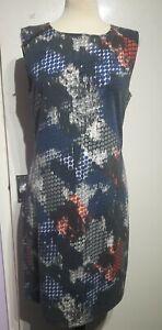Kaffe Multi Abstract Print Dress Size M Approx 12-14 UK Bodycon Sleeveless
