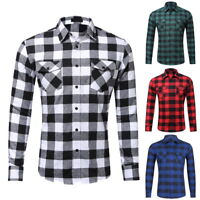 Men's Boy Plaid Casual Shirt Shirts T-Shirts Long Sleeve Blouse Tops Fashion