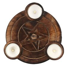 PENTAGRAM TEA LIGHT CANDLE HOLDER HALLOWEEN WICCAN PAGAN IN_22628