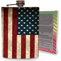 American Flag Flask Vintage 8oz Stainless Steel Silver Hip Flasks Whiskey USA