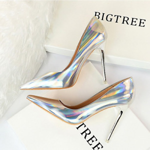Metal High-Heeled Shiny Patent Leather Shallow Mouth Pointed Nightclub Shoes
