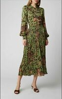FP36 2019 Womens Designer Inspired Luxury Leopard and Leaves Print Pleated Dress