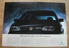 VW GOLF 16v - WHAT EVERY GTi WANTS - ORIGINAL MOTOR ADVERT 30 X 44 CM WALL ART