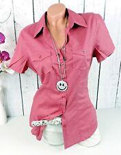Süße Damen Hemdbluse Bluse Kurzarm aus Baumwolle in rosenholz rot Gr. 38
