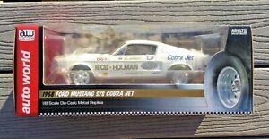AUTO WORLD 1/18 AL JONIEC WHITE 1968 FORD MUSTANG COBRA JET DRAG CAR AW 203 F/S