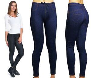 WOMENS LADIES Jeggings DENIM LOOK SKINNY JEANS Stretchy Tights Pants 6-30