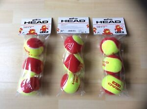 Head TIP Red Mini Tennis Balls - 3 Packs of 3 (9 Balls) - New Unopened