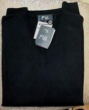 Fiji Raffi Linea Uomo Black V Neck 100% Wool Long Sleeves Sweater XL / 54
